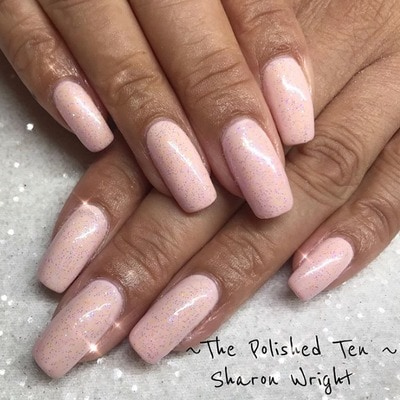 Sharon Wright adds a glittering finish to this pink hue
